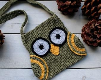 OWL BAG CROCHET Pattern, with Wings and long Strap, Easy, Owl, Crochet pattern,OwlBag, Kids Accessories, Kids Crochet, Crochet Owl,Handmade