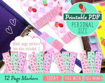 PRINTABLE Personal Size  Pop Party Page Markers Cute Kawaii Filofax Personal Kikki.K Medium Planner Louis Vuitton MM Agenda Instant Download