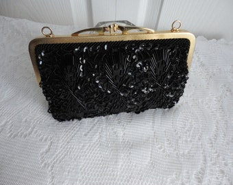 Vintage Plastic  Beaded Black  Evening Purse Hand Made in Hong Kong 70s