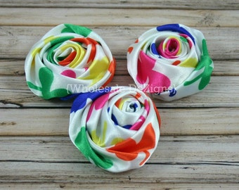 "Rainbow Satin Rolled Rosette Flowers - 2"" - Multi Colored - DIY Roses -  Set of 3"