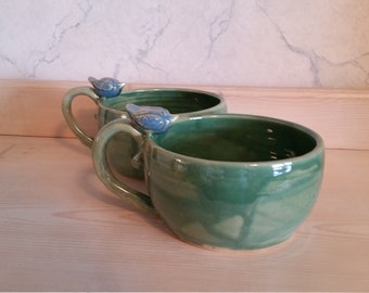 Pottery blue bird mugs