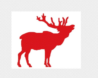 Solid Elk Embroidery Design File - multiple formats -4 sizes - one color design - instant download