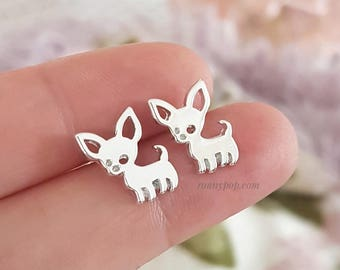Chihuahua Earrings - Chihuahua Jewelry - Animal - Dog Earrings - Dog Jewelry - Studs Earrings - Tiny Earrings - Dainty - Gift for her - Gift