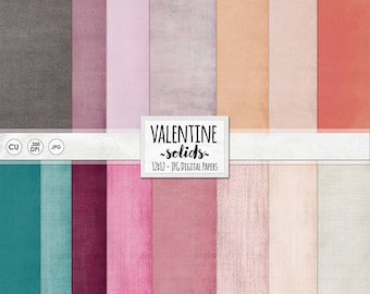Pink Digital Background Paper, Valentine Solid Cardstock Textured Paper, Teal, Pink, Red and Purple Printable Papers - Valentine's