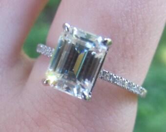 Emerald Cut Moissanite Engagement Ring, 8x6 Emerald Cut Ring, Thin Band Engagement Ring, Narrow Diamond Band, Forever One Moissanite Ring