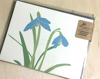 Botanical January Snowdrop Blank Holiday Cards - FREE SHIPPING