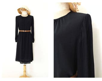 1940s Solid Black Dress Long Sleeves Japanese Vintage Secretary Wedding Evening Day Work Dress S
