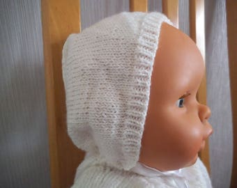 White cotton bonnet Hat