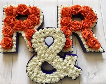 Personalised wedding decor, Wedding letter sign, Floral wedding monogram, Floral wall hanging, Nursery alphabet letters, Floral initials
