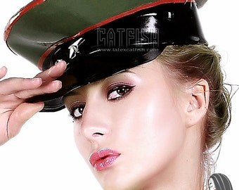 Military Star Style Rubber Cap Biker / Mistress / Master Style Latex Cap