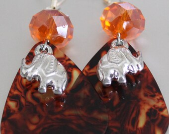 Lucky  Handmade Handcrafted Orange Glass bead with Brown Guitar Pick and Silver Elephant Charm Dangle Earrings