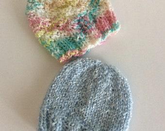 Preemie/newborn baby hats. Set of two