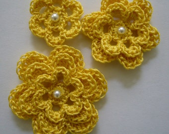 Yellow Crocheted Flowers - Bright Yellow With a Pearl - Cotton Embellishments - Crocheted Flower Appliques - Crocheted Flower Embellishments