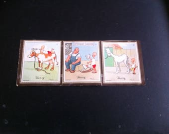 Vintage 6 (3 on each side)Henry cigarette card Carl Anderson 1935/6 4 x 4th series and 2 x 3rd series condition stuck to original album page