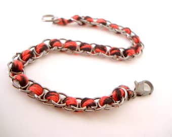 Red and Black Twist Woven Jump Rings Bracelet