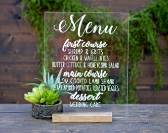 Acrylic Menu Sign Wedding, Clear Acrylic Wedding Sign, Bar Menu Sign Wedding, Lucite Menu Signs, Signature Cocktail Sign, Calligraphy Menu