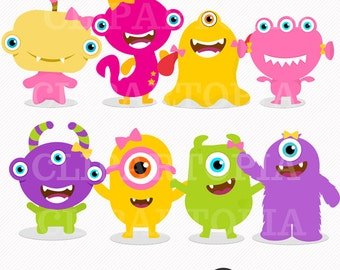 Cute Little Monster Girls Digital Clipart for Personal and Commercial Use/ INSTANT DOWNLOAD