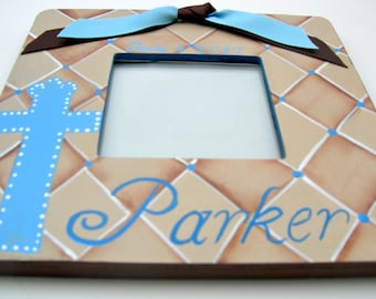 Custom Painted Baptism Christening Boutique Picture Frames Boy or Girl Designs