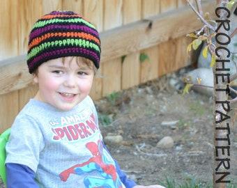 CROCHET HAT PATTERN Shockwave Beanie - Kids Size