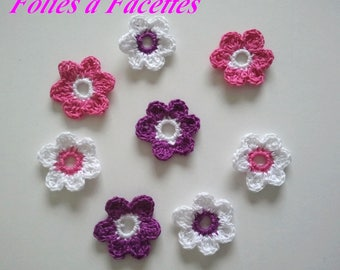 Fuchsia flowers and purple crochet cotton