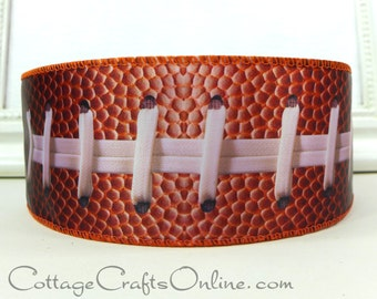 """Wired Edge Ribbon, 2 1/2""""  Football Ball and Laces Print, Brown - TEN YARD ROLL -  """"Touchdown"""" Sports, Fall Craft Wire Edged Ribbon"""