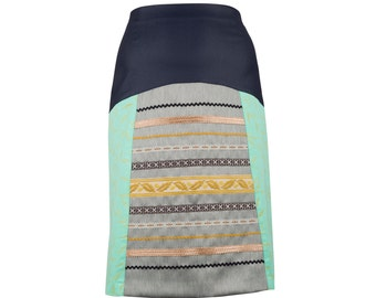 Printed skirt with ribbons and vegan leather, A shape women's skirt, folklore inspired (S-XXL)