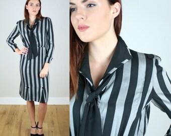 Vintage 1980s Vertical Stripe Dress