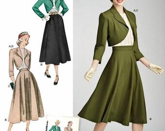 Vintage Career Dress Pattern, Circle Skirt Pattern, Blouse Pattern,  Bolero Pattern, Simplicity Sewing Pattern 8462