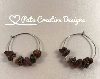 Silver Plated Stainless Steel Hoops with Earth Color Stones and Pewter Flowers