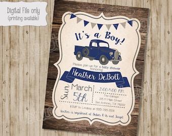 Vintage Truck Baby Shower Invitation, Rustic Wood baby shower, Retro Baby Boy Shower Invite, Custom, Printable