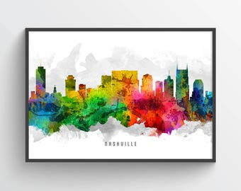 Nashville Skyline Poster, Nashville Cityscape, Nashville print, Nashville Decor, Nashville Art, Home Decor, Gift Idea USTNNA12P