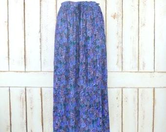 Blue/purple floral print boho crinkle vintage stretch waist maxi skirt/long Indian crinkle skirt/festival skirt