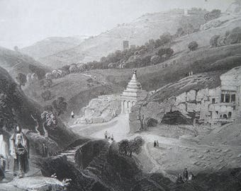 Israel Tombs in the Valley of Jehoshaphat Antique Art Print by WH Barlett