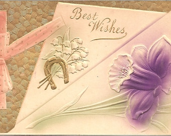 Vintage 1900's Embossed Post Card Used Best Wishes
