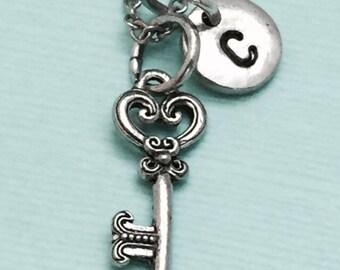 Key necklace, key charm, skeleton key, personalized necklace, initial necklace, initial charm, monogram