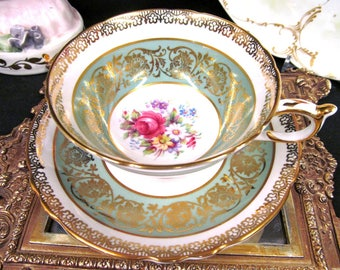 Paragon Tea Cup and Saucer Sage Green Bands Floral Rose Pattern Teacup