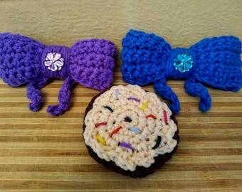 Girls Crochet Barrettes set of 3