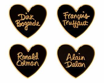 Classic film heart enamel lapel pin - Choose Alain Delon, François Truffaut, Ronald Colman, or Dirk Bogarde