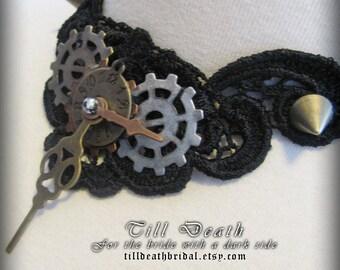 Frozen in time lace steampunk choker