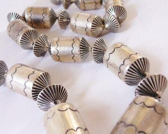 vintage Navajo solid sterling necklace | barrels and flutes | vintage Southwestern sterling | ethnic tribal Native American silver jewelry