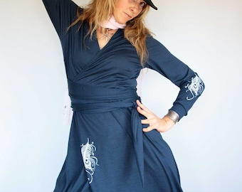 Merino Wool Long Wrap Dress - Long Sleeve, V Neck, Women's, Feather Screen Print, Custom, Maternity, Ruffled Hem,Choose Your color And Print