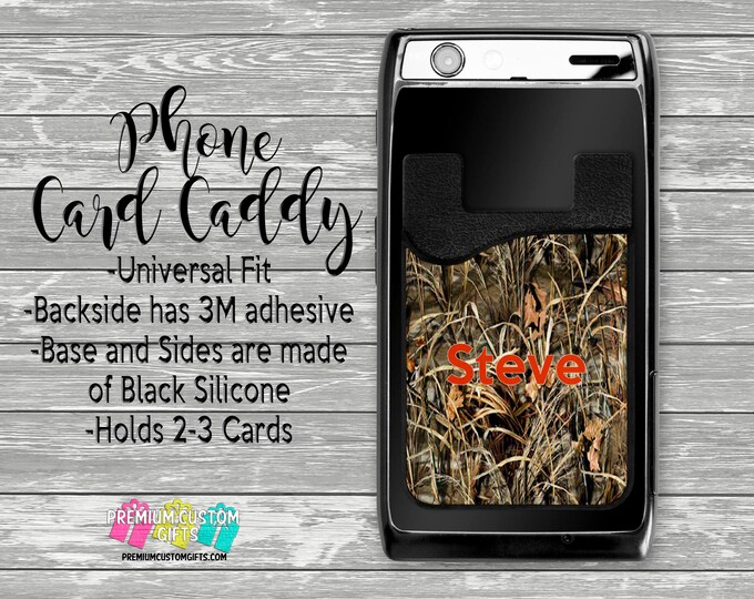 Camo Phone Holder - Personalized Card Holder - Phone Accessories - Gift For Him or Her - Phone Wallet - Custom Card Holder  - Card Wallet