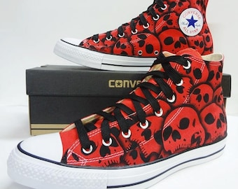 Skull Converse Chuck Taylor All Star unique hand painted skulls by RokGear all sizes all colors made to order