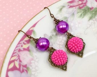 Retro Earrings, Bright Pink Flower Earrings, Assemblage Earrings, Purple Pearl Earrings, Funky Pom Pom Flower Earrings, KreatedByKelly