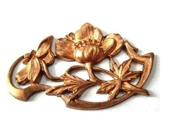 VINTAGE metal stamping flowers copper metal findings