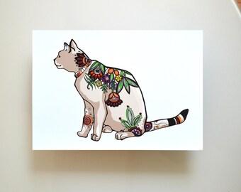 Floral cat, glicee print, cat print, nursery room, cat illustration, cat wall art print, cat art, modern cat print, happy cat illustration