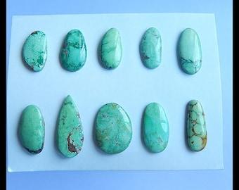 SALE,10 PCS Green Turquoise Gemstone Cabochons,15.3g (Cb265)