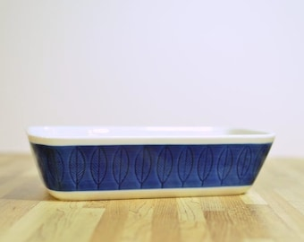 Midcentury Koka Blue Rorstrand Sweden Rectangular Baker Ceramic Casserole Dish:  3 cups or 24 oz