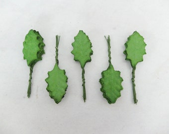 50 green holly mulberry paper leaves greeneries