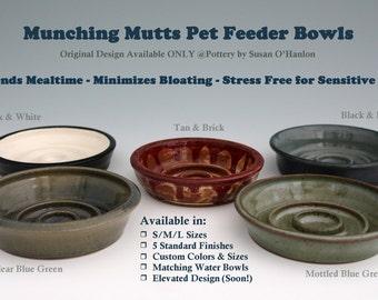 Dog Food Bowl JUMBO SLOW FEEDER Bowl Extends Mealtime - Reduces Bloating - Unique Pet Bowl Design Ceramic Stoneware Handmade Assorted Colors